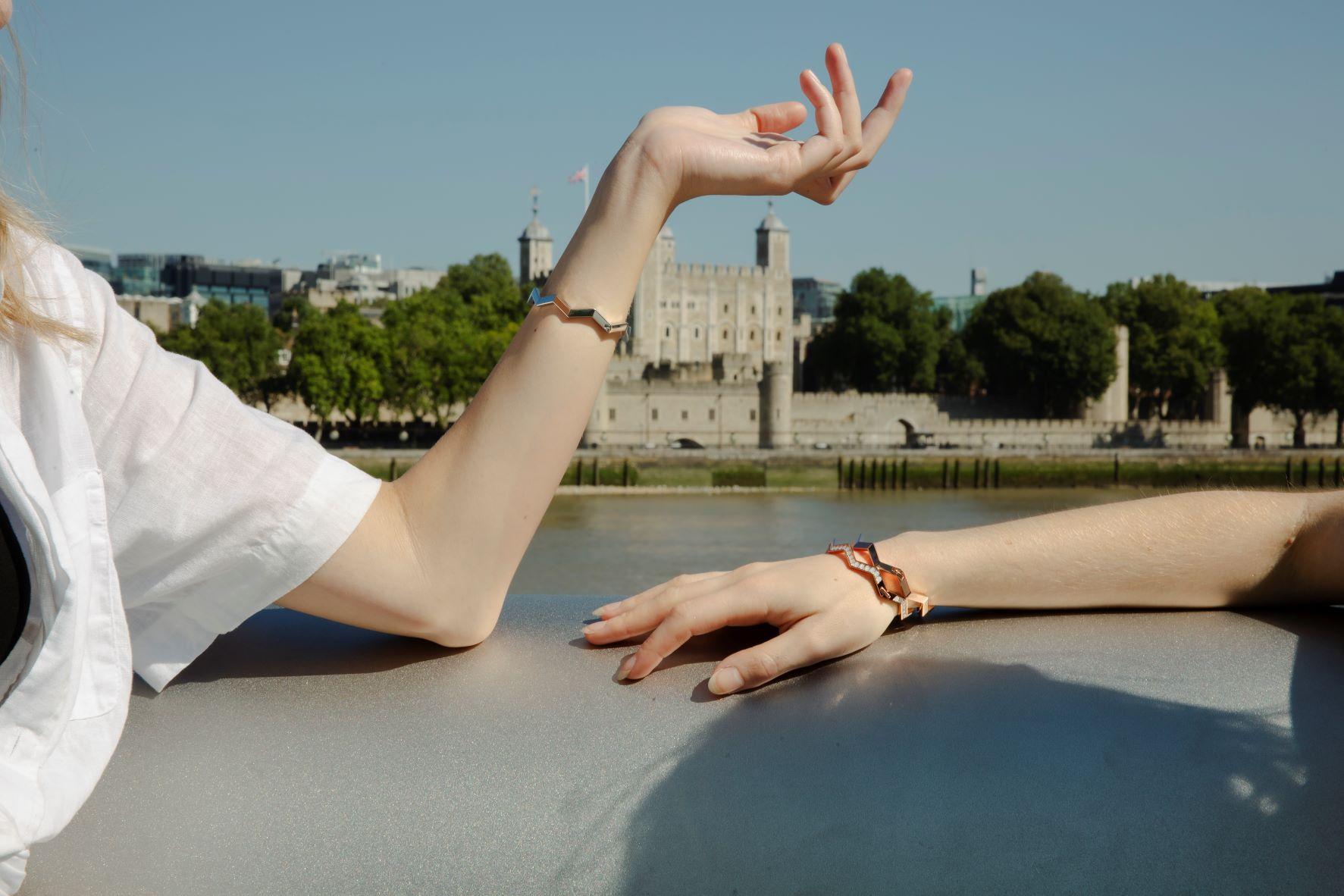 Models wearing all we are Oceano bracelets in the sunshine